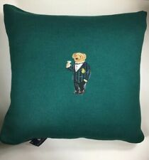 "NEW Polo Ralph Lauren Home Alsten Throw Pillow Green 18""x18"" Martini Tuxedo Bear"
