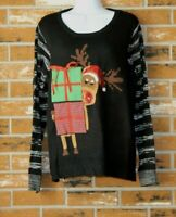 Holiday Time Ugly Christmas Sweater Reindeer Sequins Gifts Sz XXL