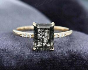 Emerald Cut Black Quartz Rutilated Dainty Bridal Engagement Ring 925 Silver