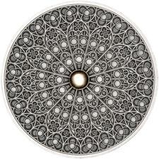 *NEW* FIJI 10$ 2019 Silver 999. 3oz MANDALA ART V - GOTHIC Paris Notre Dame Rose