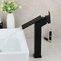 Matte Black Bathroom Basin Vessel Sink Mixer Waterfall Faucet 1 Handle Hole Taps