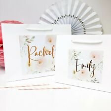 Personalised Wedding Gift Bag Favour Bags Hen Party Stickers | ROSE GOLD PEONY |