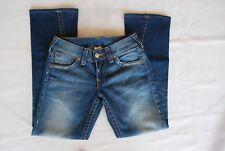 Blue Denim TRUE RELIGION Twisted Leg Stretch Leather Patch Logo Jeans 30