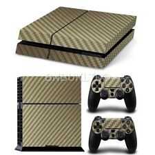 Carbon Gold Skin Sticker For PS4 Playstation 4 Console Controller Decal Vinyl