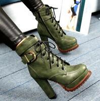Womens High Heel Chunky Buckle Platform Ankle Boots Platform Shoes Punk Hot