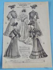 1905 Ancienne Publicité Gravure Modes robe de mariée satin voile duchesse drap