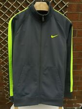 NIKE MENS SIZE LARGE GREY & FLUORESCENT YELLOW FULL ZIP JACKET VGC