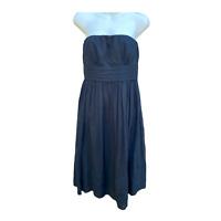 J. Crew  Silk Chiffon Strapless Dress Black Cocktail Empire Waist Size 6