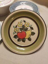 "Vintage Stonewear Plate Montgomery Ward Style House 7.5"" GUC Fruit & Flowers"
