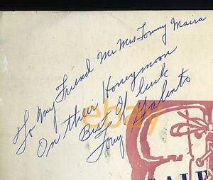 VINTAGE Two Ton TONY GALENTO Boxer Signed Menu Autograph Orange, NJ -Joe Louis