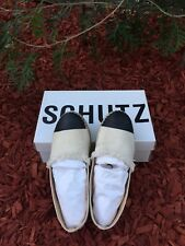 SCHUTZ Leather-paneled canvas espadrilles RRP$450 US Sizing 7
