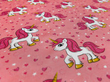 Tissu Coton Jersey Licorne étoiles Unicorn Coeur Rose Coloré Enfants Tissu