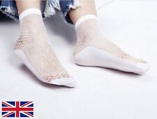 White Fishnet With Lace Ruffles Ankle High Socks SA002157