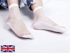 Women's Fishnet Socks High Quality Elastic White Polyester