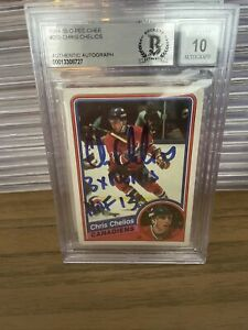 CHRIS CHELIOS signed 1984-85 OPC RC With 2 Inscriptions BECKETT 10 Auto BAS