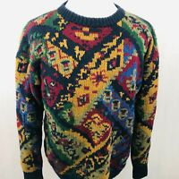Windsor Sweater XLarge Mens Gold Blue Red Hand Knit Vintage Cosby Pullover