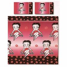 BETTY BOOP LIPS DOUBLE DUVET COVER & PILLOWCASE SET BLACK RED NEW BEDDING