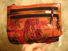 Vintage New Handmade India Leather Elephant Wallet Clutch Small Purse