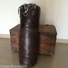 Vintage Dark Brown Leather | Boxing Gym Punch Bag | Retro