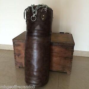 Vintage Dark Brown Leather   Boxing Gym Training Punch Bag   Retro