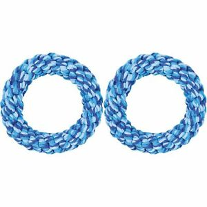 2 x Trixie Rope Ring Toy Fun Dog Teething Playing Activity Dental Care Chew 14cm