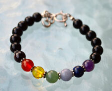 7 Chakra Wrist Mala Beads Bracelet Bangle with Om Zinc Alloy Findings