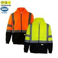 High Visibility Class 3 Hi-Vis Sweatshirt Full Zip Hooded Black Bottom-H9011/12