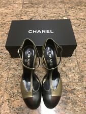 Chanel Color Block Leather T-Strap Heels NIB