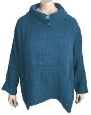 "GRIZAS XXXL 22 / 24 Linen Cotton Top 57"" Bust - BEAUTIFUL BLUE! NWT - Orig. $248"