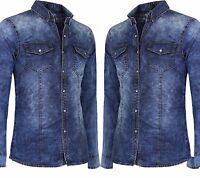 Camicia Di Jeans Uomo Blu Denim Slim Fit Casual Manica Lunga Cotone Novita' Moda