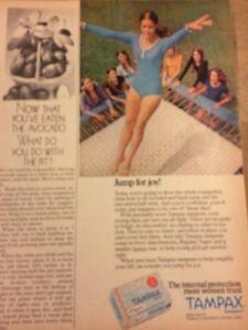 Tampax Tampons, Gymnast, Gymnastics, Vintage Print Ad