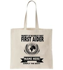 First Aider  Personalised Tote Bag Shopper Thanks Amend Birthday Gift First Aid