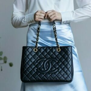VERIFIED Authentic CHANEL Quilted Caviar Leather GHW GST Grand Shopping Tote Bag