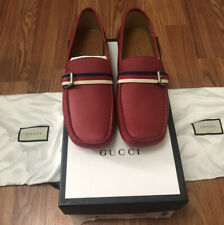 NEW 100% AUTHENTIC GUCCI LOAFERS HEBRON RED LEATHER SIZE G 9.5 US 10.5