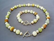 LOVELY HM STERLING SILVER FRESHWATER PEARL& AGATE CHUNKY NECKLACE & BRACELET/CLE