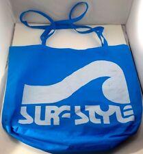"Vintage 1980s Surf Style XL Blue Beach Tote 17"" X 19"" w 18"" Straps GC Free Ship!"