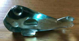 Glass Whale / Fish - Hand Blown Glass Paperweight Ornament - Sea Green - 12cm