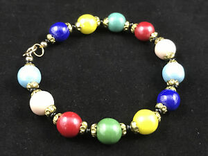Repurposed 1950s Harlequin glass bead bracelet, with gold filled findings