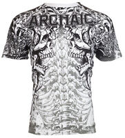 Archaic AFFLICTION Men T-Shirt DEATH SHOUT Skulls Tattoo Biker MMA L-3XL $40