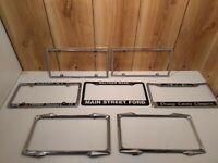 Lot of 7 vintage metal  license plate holders/frames 1 nos set, NY, Mass, Orange