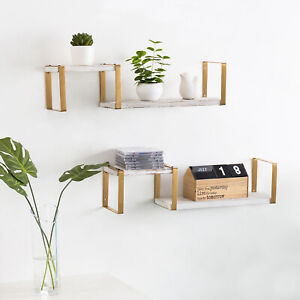 MyGift Set of 2 Whitewashed Wood and Brass Metal 2 Tier Decorative Wall Shelves