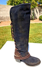 Freebird by Steven Coal Leather & Suede Lace Up Boots Sz 7 Knee High NEW $348