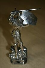 Sterling Silver Miniature Statue of St. George Slaying the Dragon