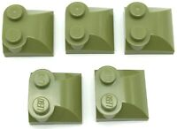 Lego 5 New Olive Green Bricks Modified 2 x 2 x 2/3 Two Studs Curved Slope