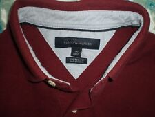 mens mauve tommy hilfiger polo shirt custom fit large made in vietnam