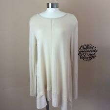 STACCATO Anthropologie M Long Sleeve Cream Zip Up Layered Tunic Knit Sweater Top