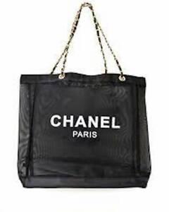 CHANEL black mesh bag shopping hand beach gold chain handles tote shoulder