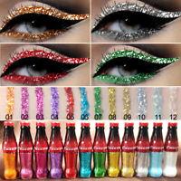 12 Color Matte&Glitter Makeup Eyeliner Gel Waterproof Liquid Eye Liner Beauty UK