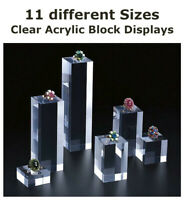 Acrylic Perspex Clear Riser Block Display Stand Prop Jewellery Box Cube Cubes