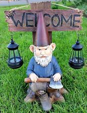 "SOLAR GNOME STATUE, 16"" GNOME FIGURINE, GRINCHY GNOME WITH 2 SOLAR LIGHT"